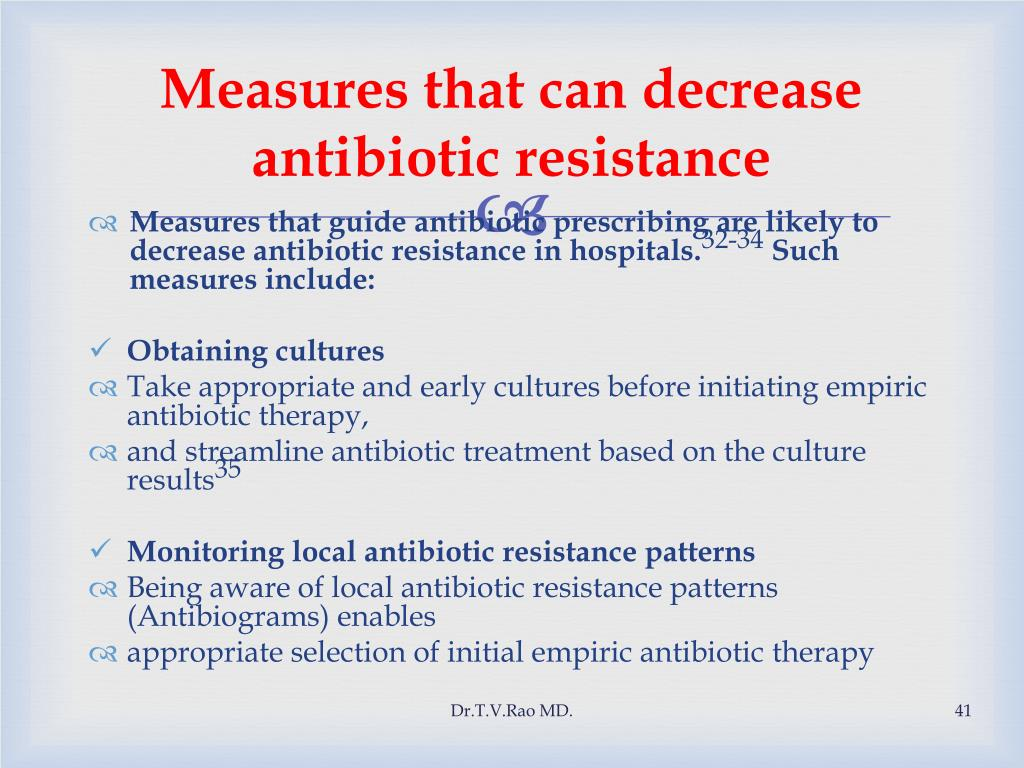 Measures that can decrease antibiotic resistance