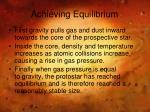 achieving equilibrium