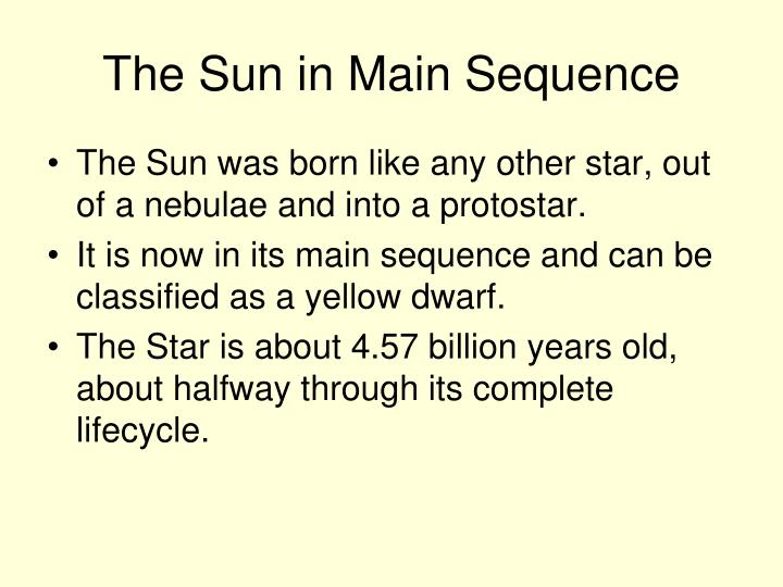 The Sun in Main Sequence