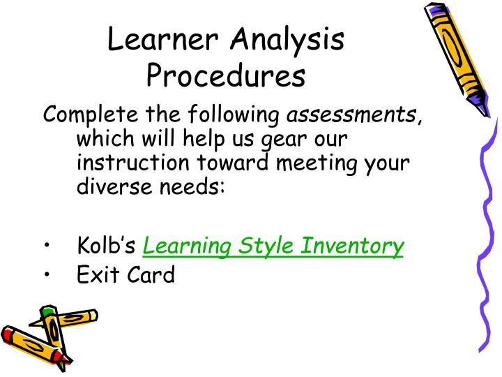 Learner Analysis Procedures