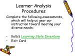 learner analysis procedures