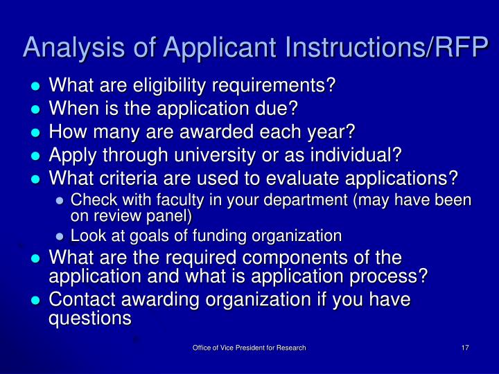 Analysis of Applicant Instructions/RFP