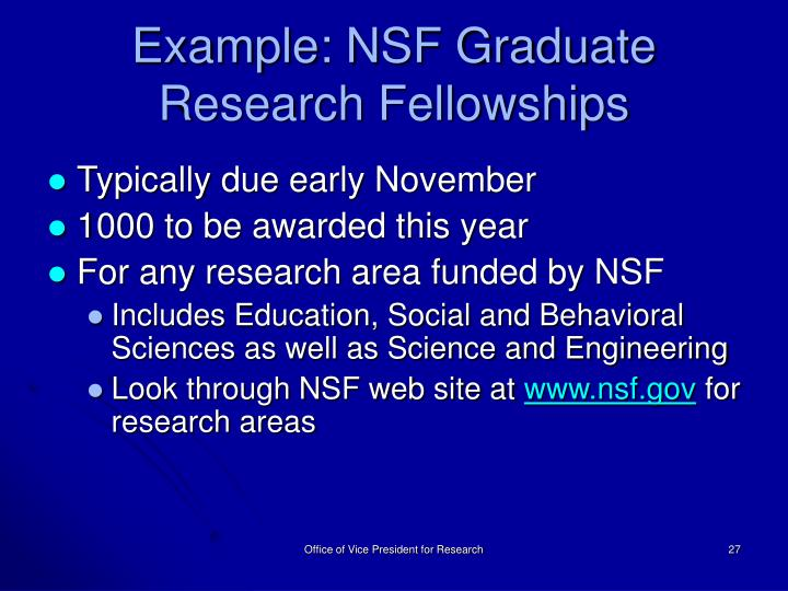 Example: NSF Graduate Research Fellowships