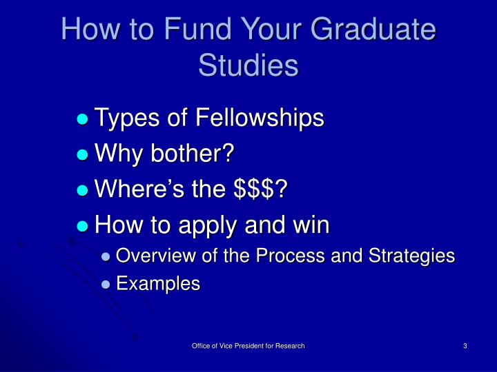 How to Fund Your Graduate Studies