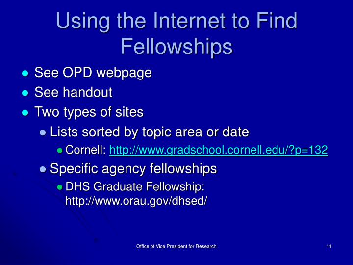 Using the Internet to Find Fellowships