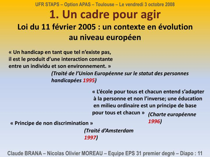 UFR STAPS – Option APAS – Toulouse – Le vendredi 3 octobre 2008