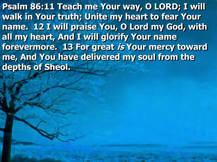 Psalm 86:11 Teach me Your way, O LORD; I will walk in Your truth; Unite my heart to fear Your name.  12 I will praise You, O Lord my God, with all my heart, And I will glorify Your name forevermore.  13 For great