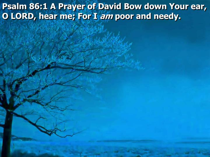 Psalm 86:1 A Prayer of David Bow down Your ear, O LORD, hear me; For I