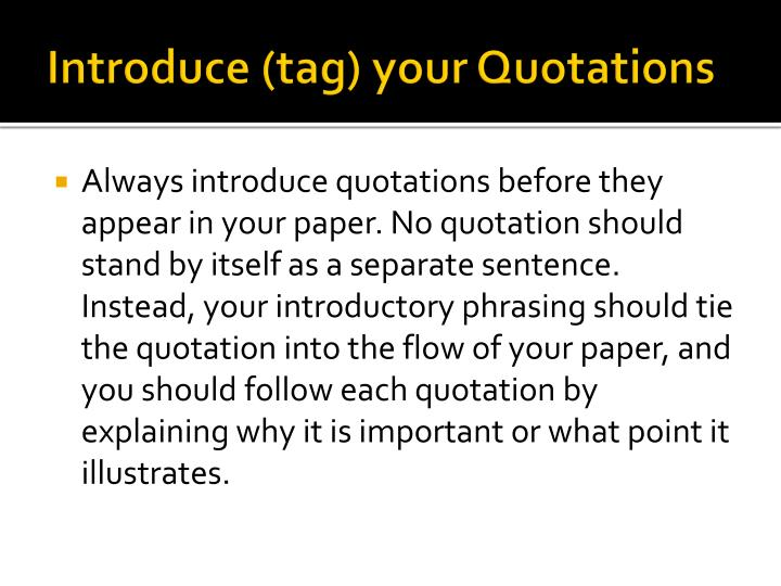 Introduce (tag) your Quotations