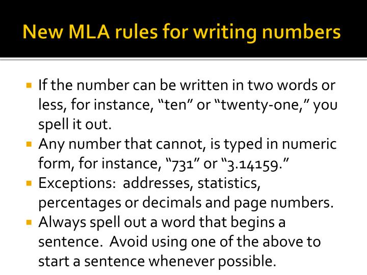 New MLA rules for writing numbers