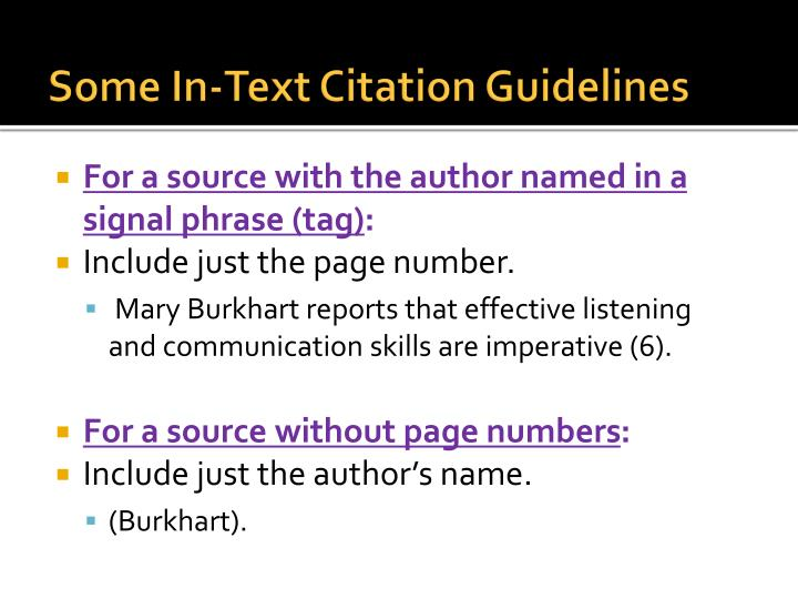 Some In-Text Citation Guidelines