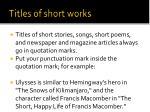 titles of short works