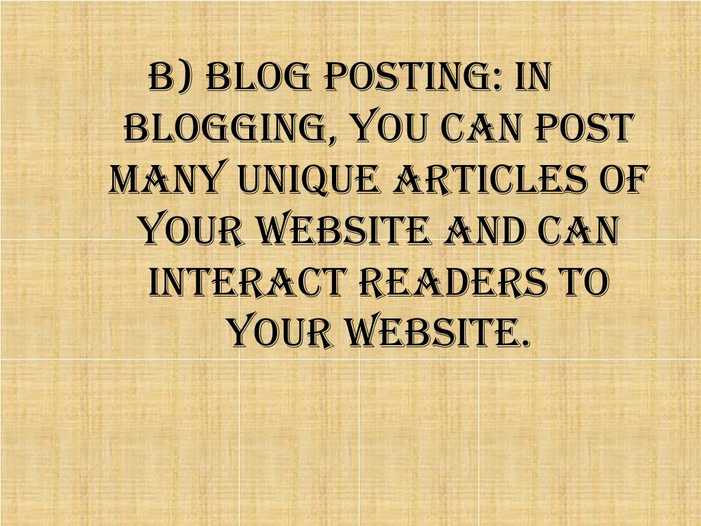 b) Blog