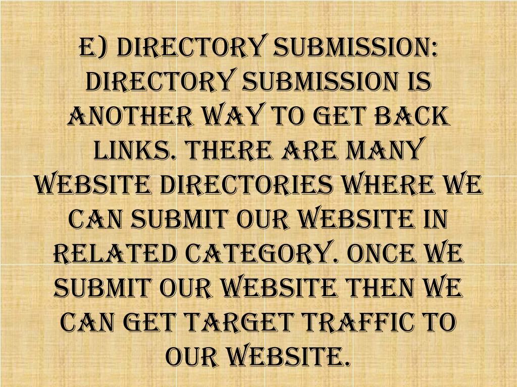 e) Directory