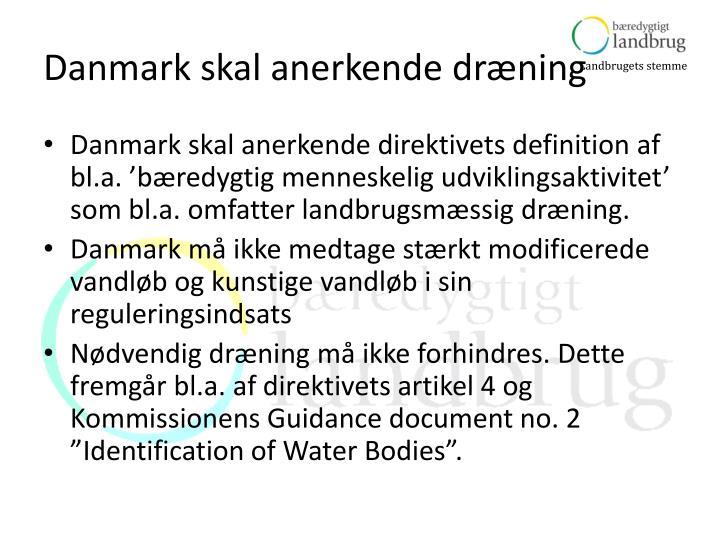 Danmark skal anerkende dræning