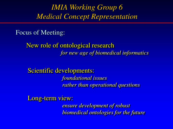 IMIA Working Group 6