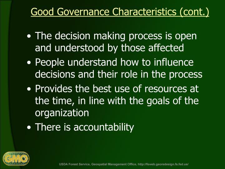 Good Governance Characteristics (cont.)