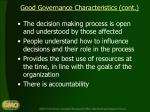 good governance characteristics cont