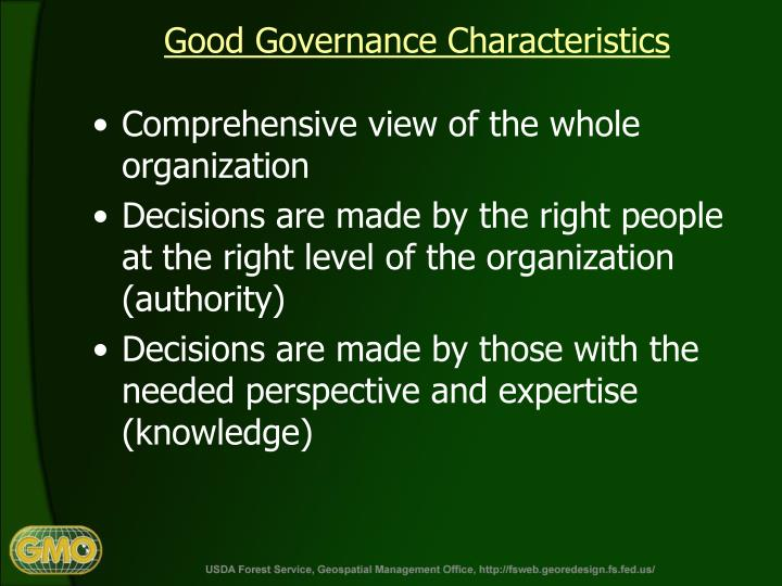Good Governance Characteristics