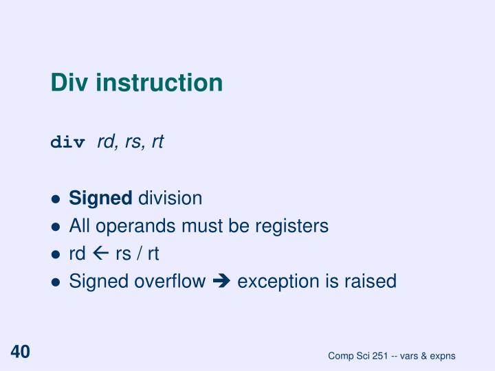 Div instruction