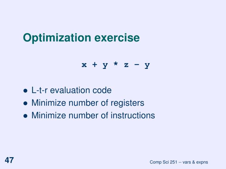 Optimization exercise