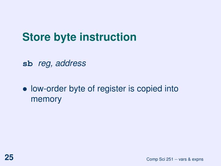 Store byte instruction