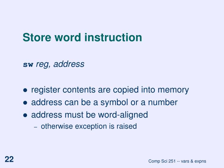 Store word instruction