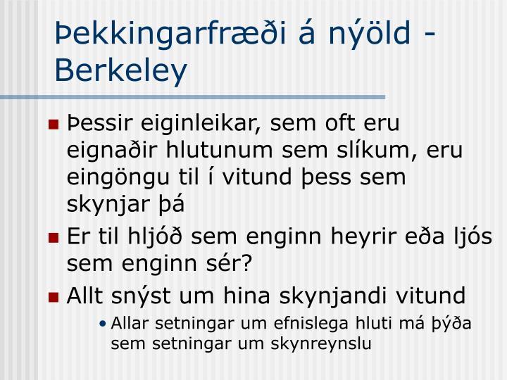 Þekkingarfræði á nýöld - Berkeley
