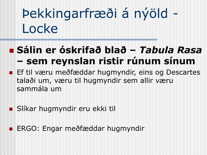 Þekkingarfræði á nýöld - Locke