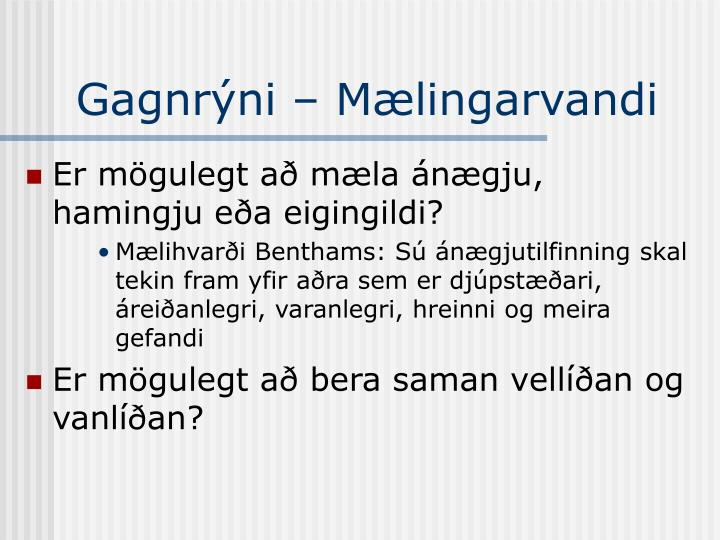 Gagnrýni – Mælingarvandi