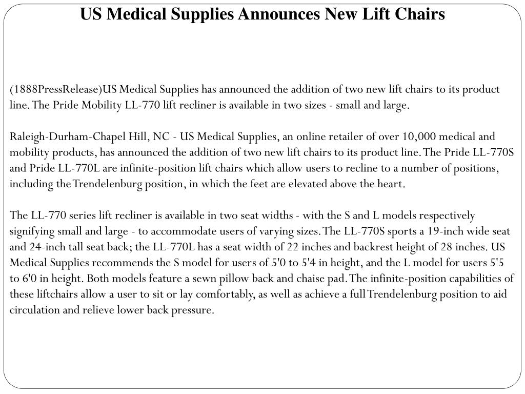 US Medical Supplies Announces New Lift Chairs
