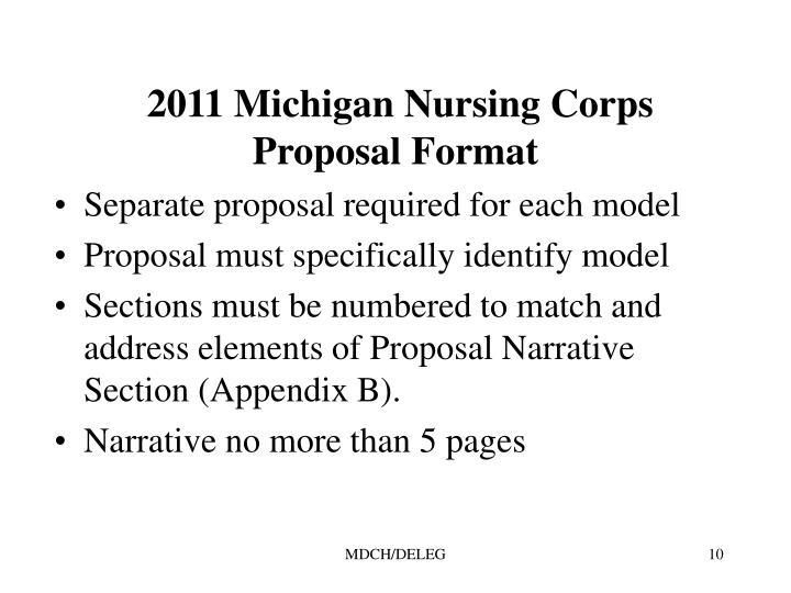 2011 Michigan Nursing Corps Proposal Format