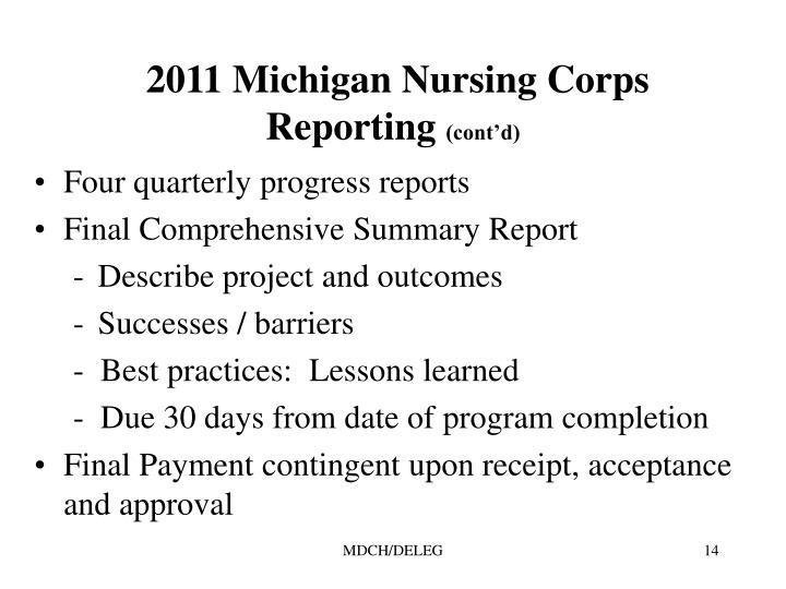 2011 Michigan Nursing Corps Reporting