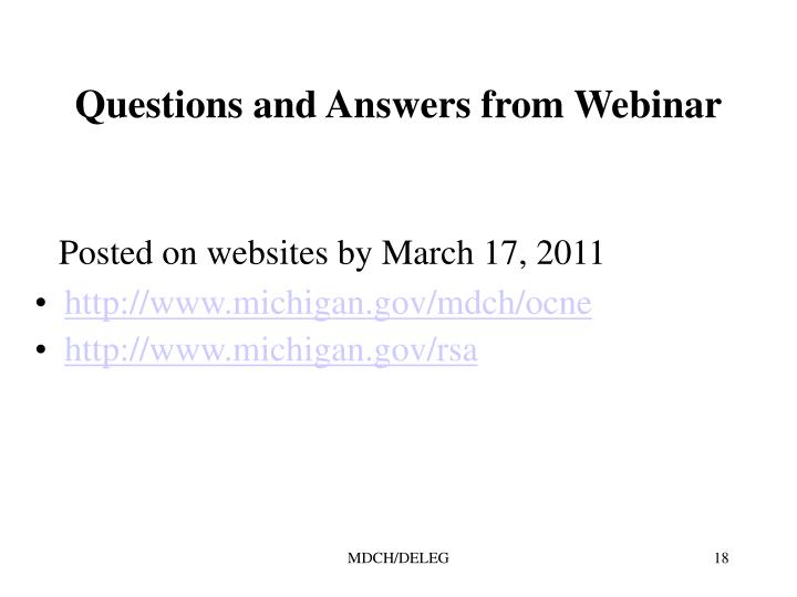 Questions and Answers from Webinar