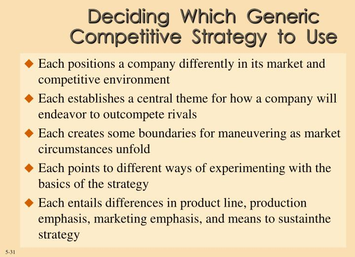 Deciding  Which  Generic  Competitive  Strategy  to  Use