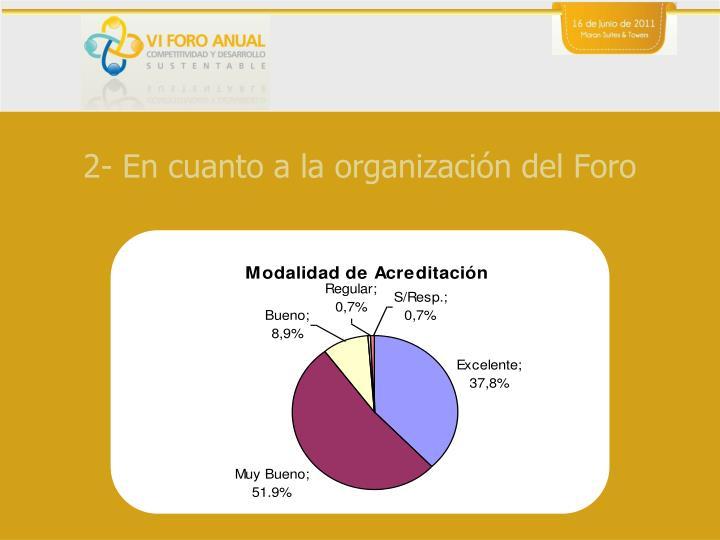 2- En cuanto a la organización del Foro