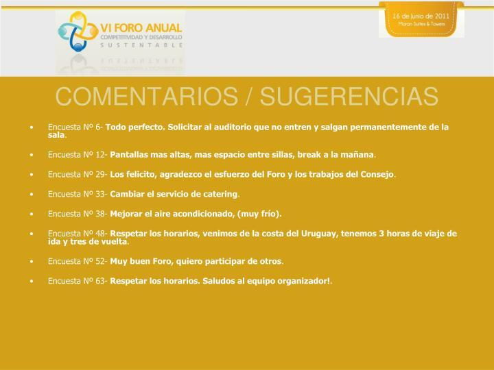 COMENTARIOS / SUGERENCIAS
