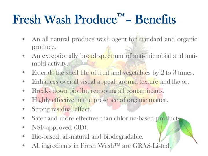 Fresh wash produce tm benefits