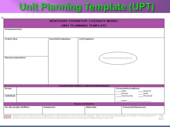 Unit Planning Template (UPT)
