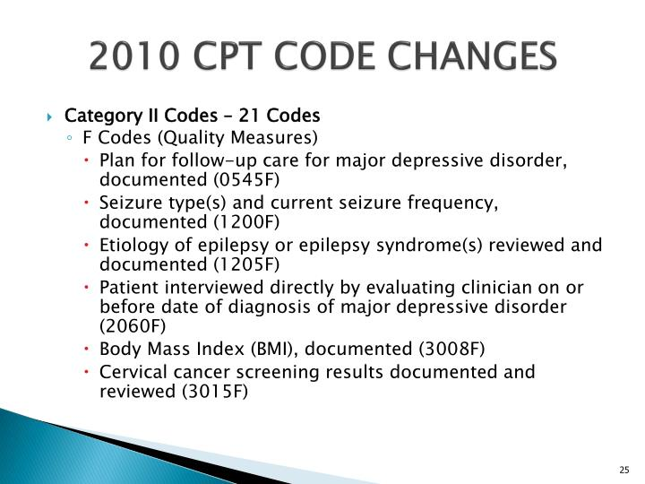 2010 CPT CODE CHANGES