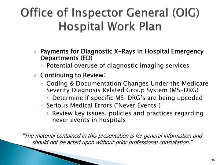 Office of Inspector General (OIG) Hospital Work Plan