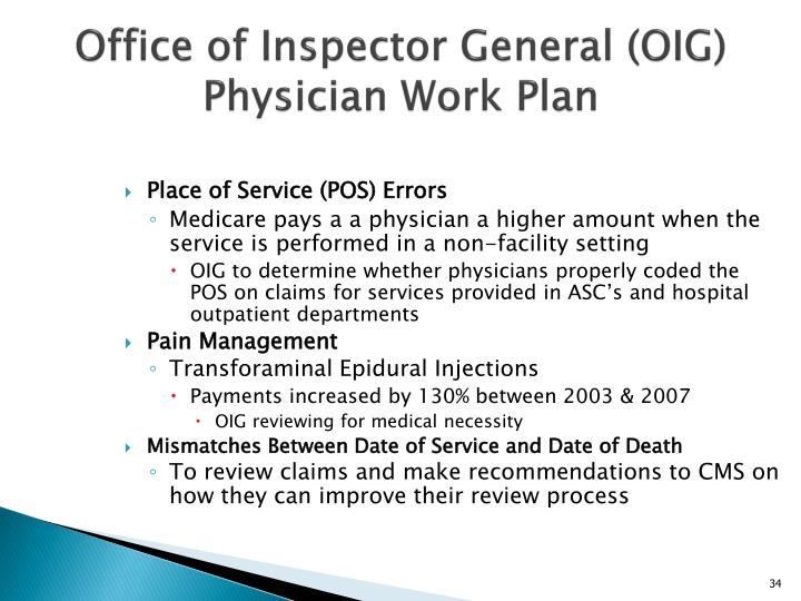 Office of Inspector General (OIG) Physician Work Plan