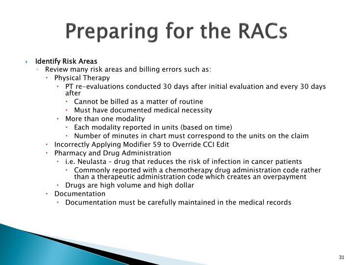 Preparing for the RACs