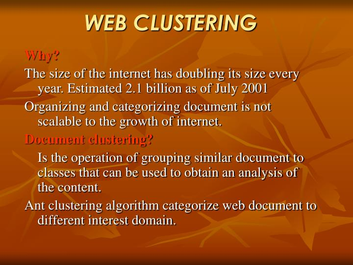 WEB CLUSTERING