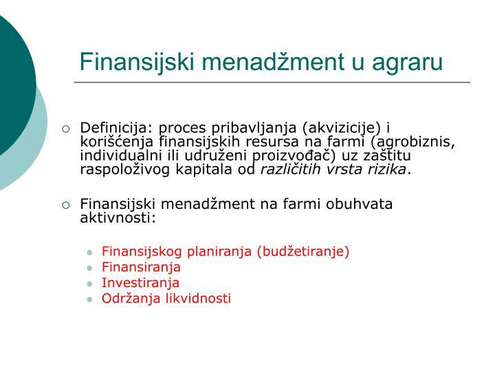 Finansijski menadžment u agraru