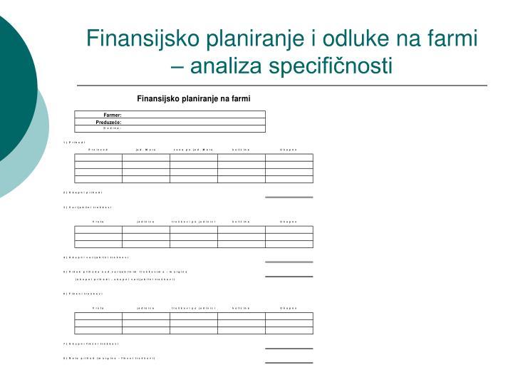 Finansijsko planiranje i odluke na farmi – analiza specifičnosti
