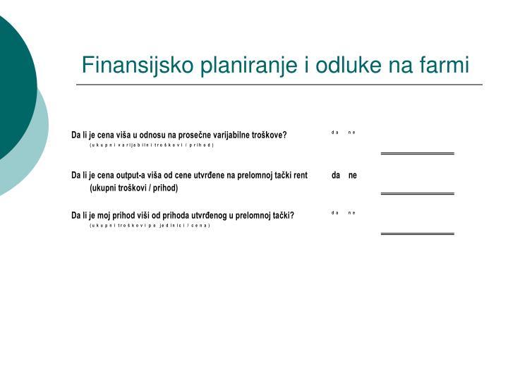 Finansijsko planiranje i odluke na farmi