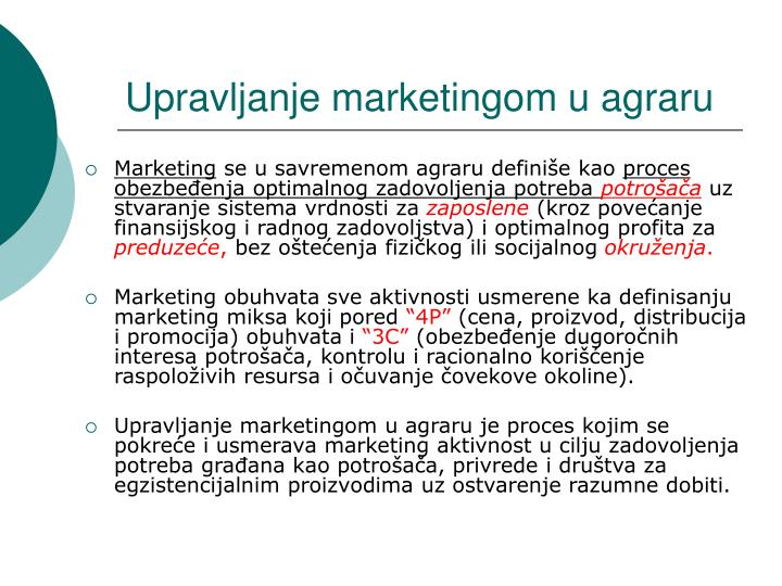 Upravljanje marketingom u agraru