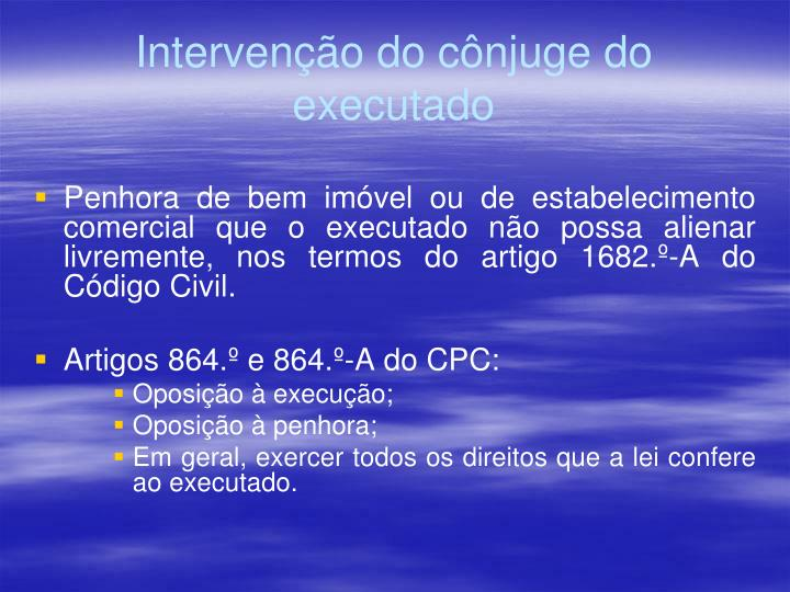 Intervenção do cônjuge do executado