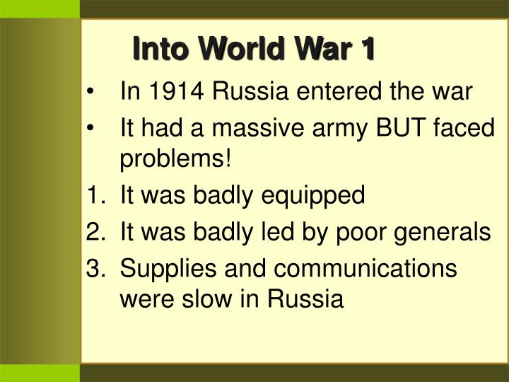 Into World War 1